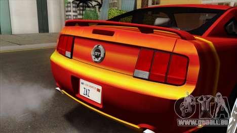 Ford Mustang GT PJ pour GTA San Andreas vue arrière
