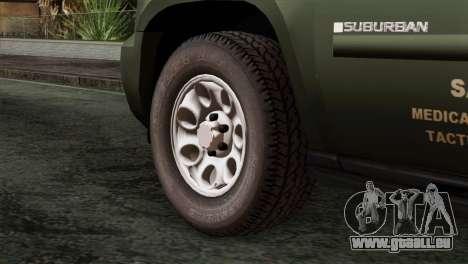 Chevrolet Suburban National Guard MedEvac pour GTA San Andreas sur la vue arrière gauche