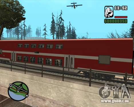 Israeli Train Double Deck Coach für GTA San Andreas zurück linke Ansicht