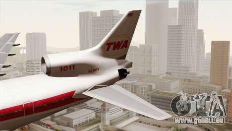 Lookheed L-1011 TWA pour GTA San Andreas sur la vue arrière gauche