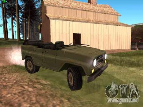 UAZ militaire pour GTA San Andreas laissé vue