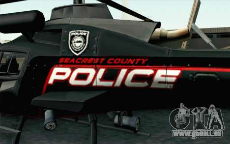 NFS HP 2010 Police Helicopter LVL 3 pour GTA San Andreas vue de droite