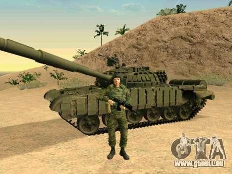 Réservoir T-72B pour GTA San Andreas sur la vue arrière gauche