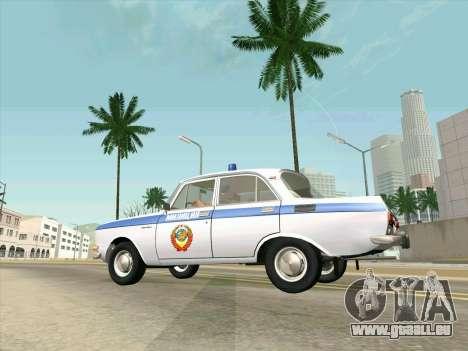 Moskvich 2140 Police pour GTA San Andreas vue arrière