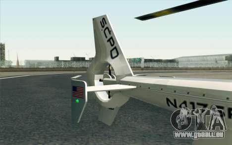 NFS HP 2010 Police Helicopter LVL 1 pour GTA San Andreas vue de droite