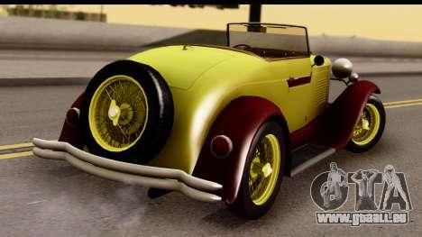 Ford A 1928 pour GTA San Andreas laissé vue