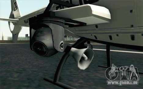 NFS HP 2010 Police Helicopter LVL 1 pour GTA San Andreas sur la vue arrière gauche