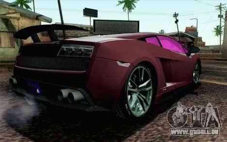 Lamborghini Gallardo LP570-4 Superleggera 2011 pour GTA San Andreas laissé vue