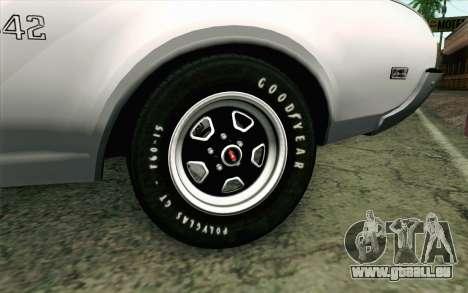 Oldsmobile 442 Vacances Coupé 1969 FIV АПП pour GTA San Andreas sur la vue arrière gauche