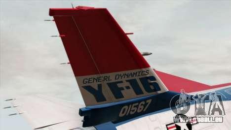 YF-16 Fighting Falcon pour GTA San Andreas sur la vue arrière gauche