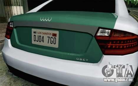 GTA 5 Obey Tailgater v2 IVF pour GTA San Andreas vue arrière