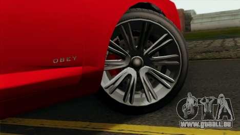 GTA 5 Obey Tailgater für GTA San Andreas zurück linke Ansicht