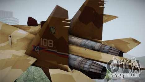 SU-27 Warwolf Squadron pour GTA San Andreas sur la vue arrière gauche
