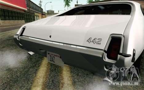 Oldsmobile 442 Vacances Coupé 1969 FIV АПП pour GTA San Andreas vue arrière