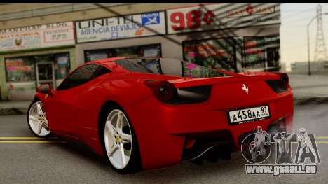 Ferrari 458 Italia pour GTA San Andreas laissé vue