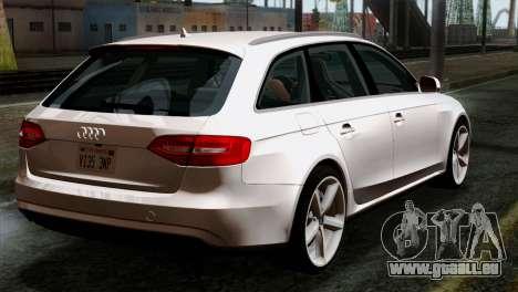 Audi A4 Avant 2013 pour GTA San Andreas laissé vue