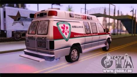 Ford E-350 Ambulance New Brunswick pour GTA San Andreas laissé vue