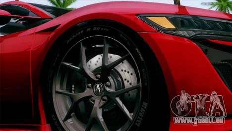 Acura NSX 2016 v1.0 JAP Plate pour GTA San Andreas vue de droite