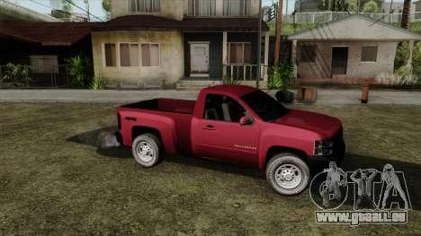 Chevrolet Silverado Cabina Sencilla pour GTA San Andreas sur la vue arrière gauche