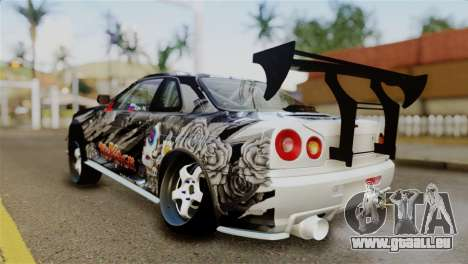 Nissan Skyline GTR34 Tokage für GTA San Andreas zurück linke Ansicht