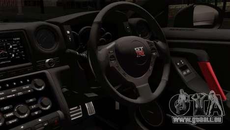 Nissan GT-R R35 2012 pour GTA San Andreas sur la vue arrière gauche