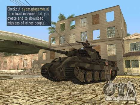 Panzerkampfwagen Tiger II pour GTA San Andreas laissé vue