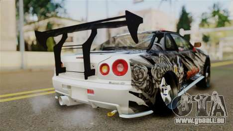 Nissan Skyline GTR34 Tokage für GTA San Andreas linke Ansicht