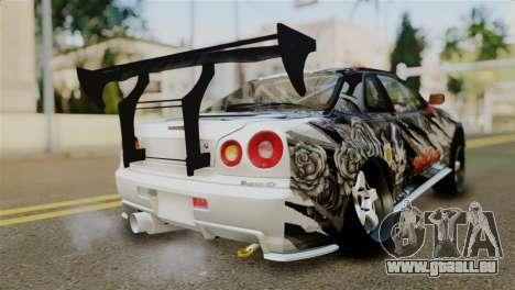 Nissan Skyline GTR34 Tokage pour GTA San Andreas laissé vue