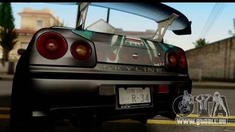 Nissan Skyline GT-R BNR34 Mio Akiyama Itasha für GTA San Andreas rechten Ansicht