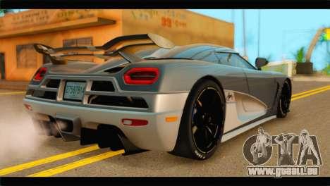 Koenigsegg Agera R 2011 Stock Version pour GTA San Andreas laissé vue