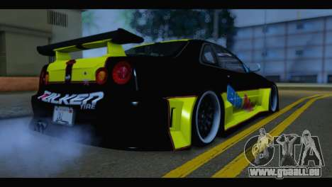 Nissan Skyline R34 BudMat pour GTA San Andreas laissé vue