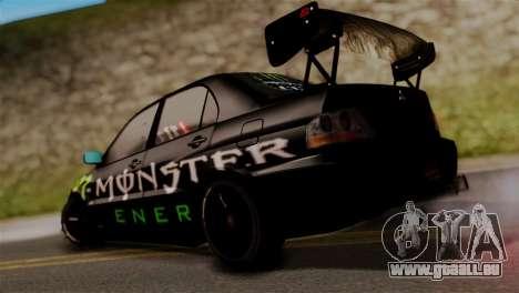 Mitsubishi Lancer Evo IX Monster Energy pour GTA San Andreas laissé vue