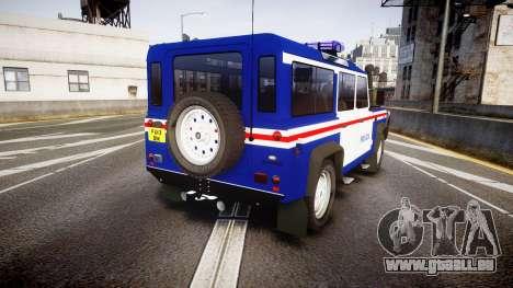 Land Rover Defender Policia PSP [ELS] pour GTA 4 Vue arrière de la gauche