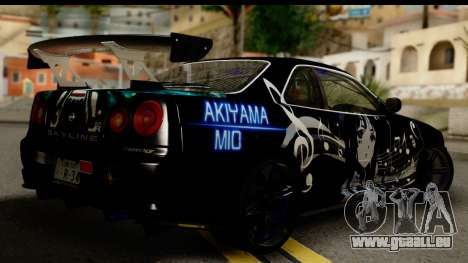 Nissan Skyline GT-R BNR34 Mio Akiyama Itasha für GTA San Andreas linke Ansicht