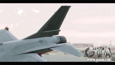 F-16A Republic of Korea Air Force pour GTA San Andreas sur la vue arrière gauche