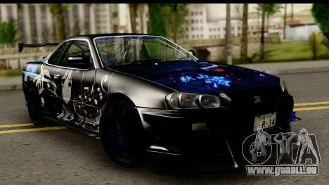 Nissan Skyline GT-R BNR34 Mio Akiyama Itasha für GTA San Andreas