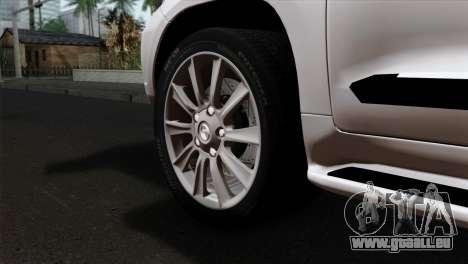 Lexus LX570 2011 pour GTA San Andreas sur la vue arrière gauche