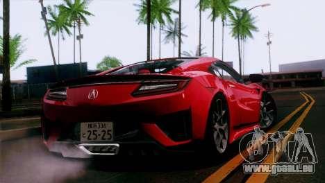 Acura NSX 2016 v1.0 JAP Plate pour GTA San Andreas laissé vue