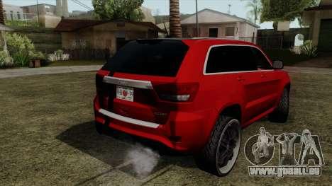 Jeep Grand Cherokee SRT8 pour GTA San Andreas laissé vue