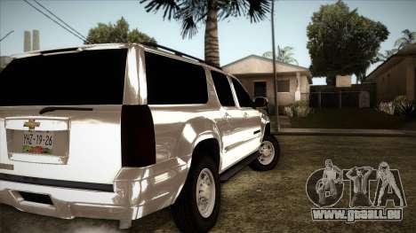 Chevrolet Suburban Plateada für GTA San Andreas zurück linke Ansicht