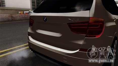 BMW X3 F25 2012 für GTA San Andreas Rückansicht