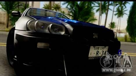 Nissan Skyline GT-R BNR34 Mio Akiyama Itasha für GTA San Andreas zurück linke Ansicht