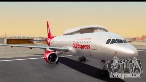 Airbus A320-200 OLT Express pour GTA San Andreas sur la vue arrière gauche