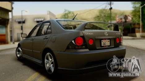 Lexus IS300 Tunable pour GTA San Andreas vue de dessous