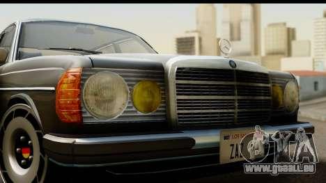 Mercedes-Benz 240 W123 Stance für GTA San Andreas zurück linke Ansicht