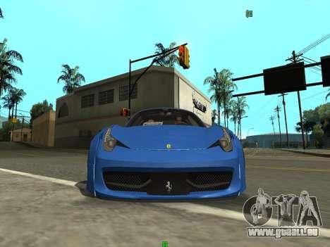 Ferrari 458 Italia pour GTA San Andreas sur la vue arrière gauche