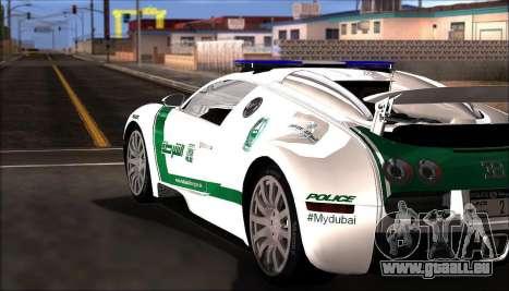 Bugatti Veyron 16.4 La Police De Dubaï 2009 pour GTA San Andreas sur la vue arrière gauche