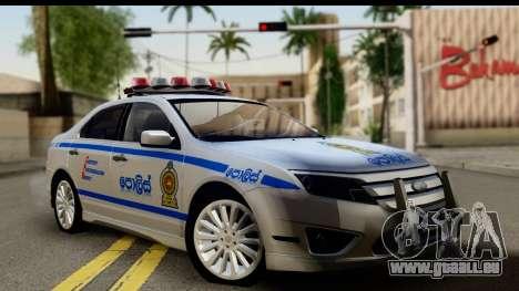 Ford Fusion 2011 Sri Lanka Police pour GTA San Andreas