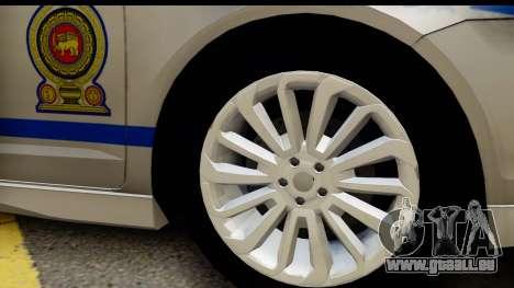 Ford Fusion 2011 Sri Lanka Police pour GTA San Andreas vue arrière