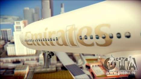 Airbus A340-300 Emirates pour GTA San Andreas vue arrière